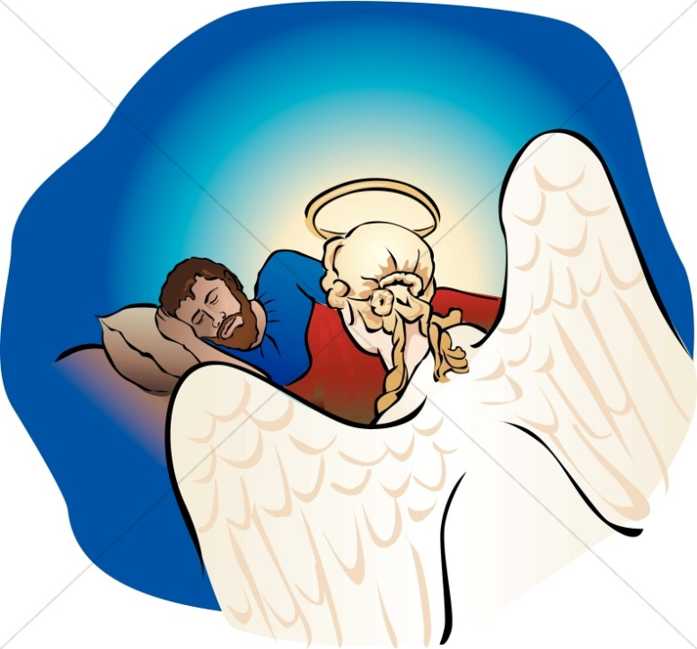 Angel Talking To Joseph In A Dream About Mary Nativity Clipart