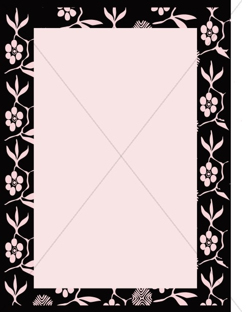 Pink on Black Floral Border