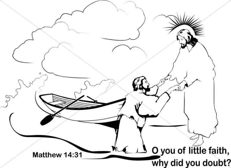 Peter Lacks Faith Clipart