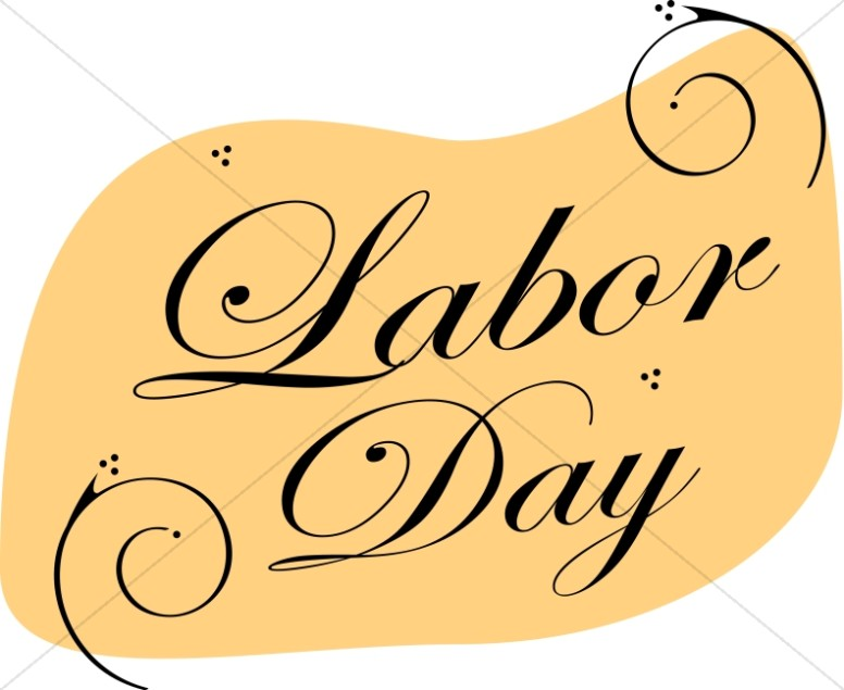 Labor Day With Swirls Labor Day Clipart