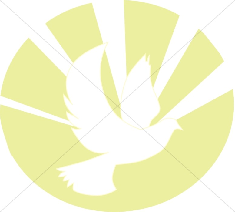 Flying White Dove with Rays