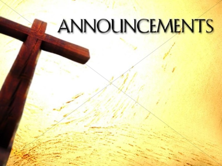 tall cross with announcements church announcements