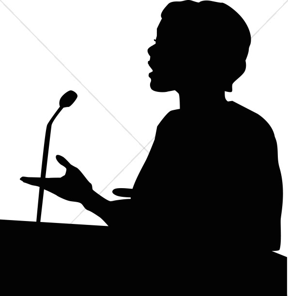 Female Speaker in Silhouette