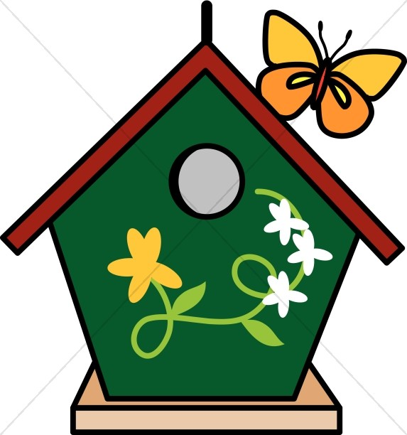 birdhouse and butterfly nature clipart rh sharefaith com cute birdhouse clipart birdhouse clipart images