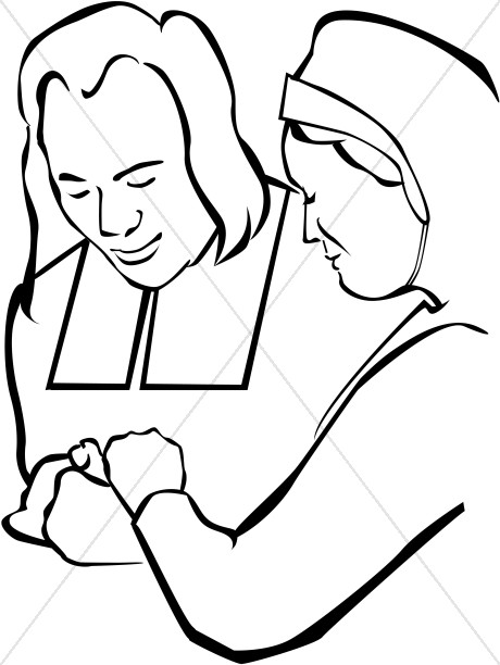 Pilgrim Couple Praying Clipart