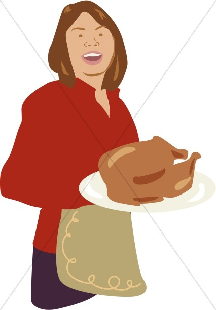 Woman Serving Turkey in Color