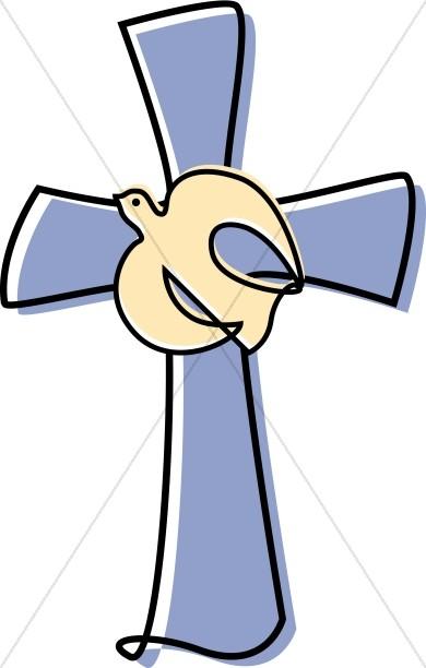 Lavendar Cross with a Dove Clipart