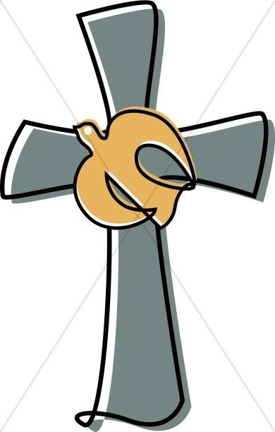 Grayish Cross with Dove