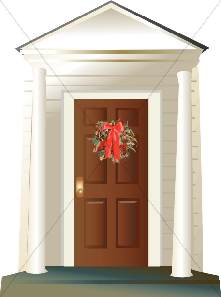 Wreath on Porch with Columns