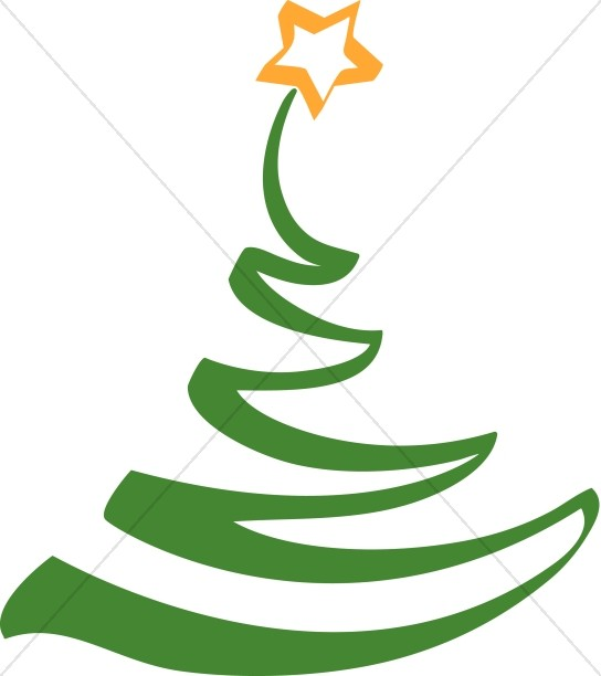 Simple Artistic Christmas Tree Clipart