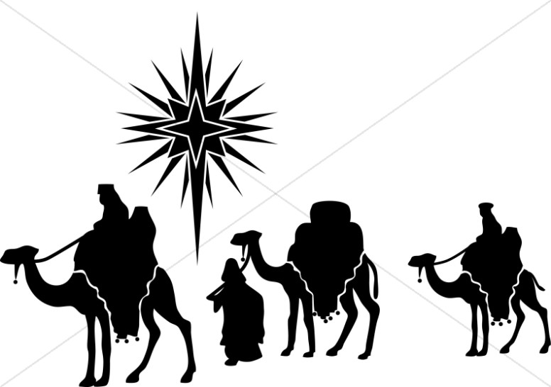 Nativity Star and Magi Silhouette | Epiphany Clipart