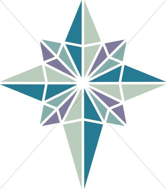 Green And Purple Nativity Star Christian Star Clipart