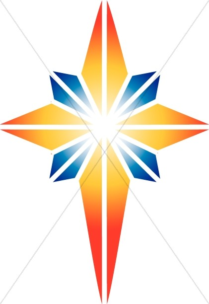 Red and Blue Star of Bethlehem