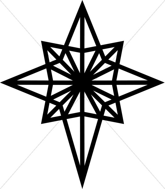 Black and white epiphany star clipart