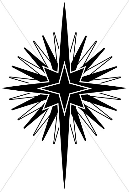 Big Nativity Star in Black and White | Epiphany Clipart