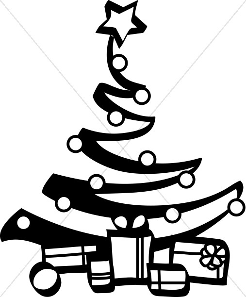 Black And White Artist Christmas Tree Religious Christmas Clipart