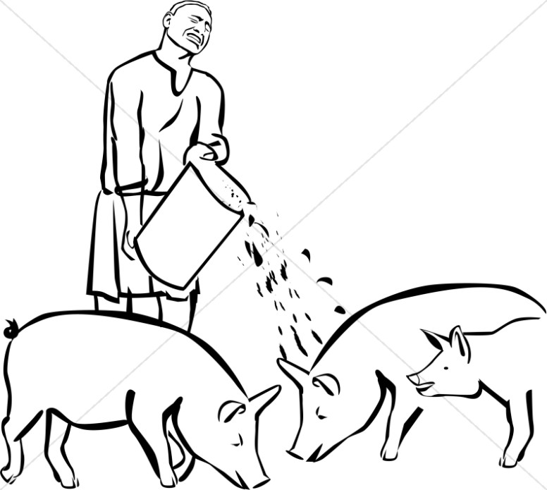 Prodigal Son Feeding Pigs Clipart | New Testament Clipart
