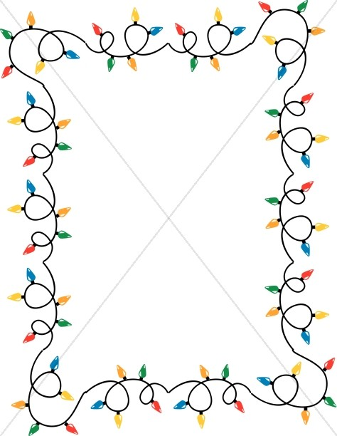 Windy Strands of Christmas Lights Border