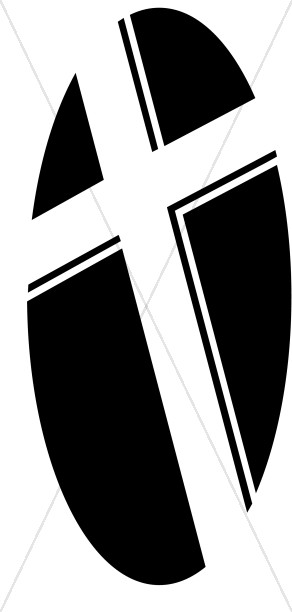 Black and White Oval Cross
