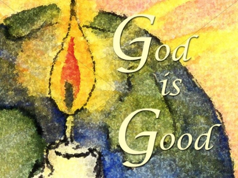 Watercolor Candle with God is Good Christian Wallpaper