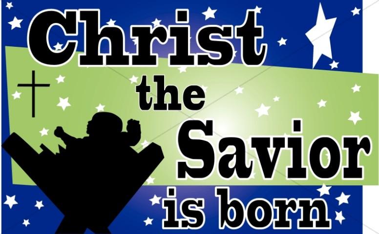 The Savior Is Born Christian Christmas Word Art