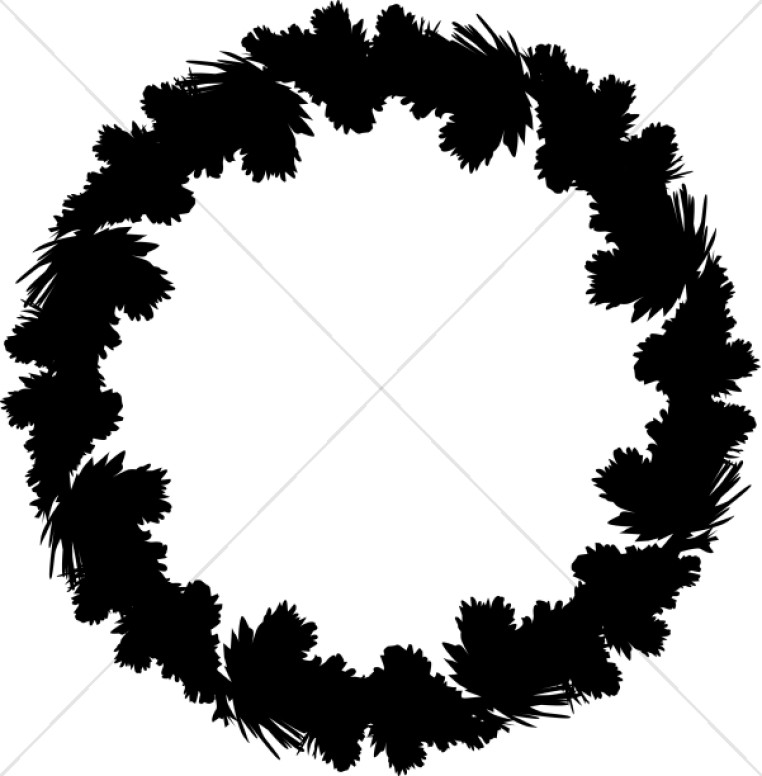 Christmas Wreath Silhouette.Silhouette Wreath Traditional Christmas Decoration Clipart