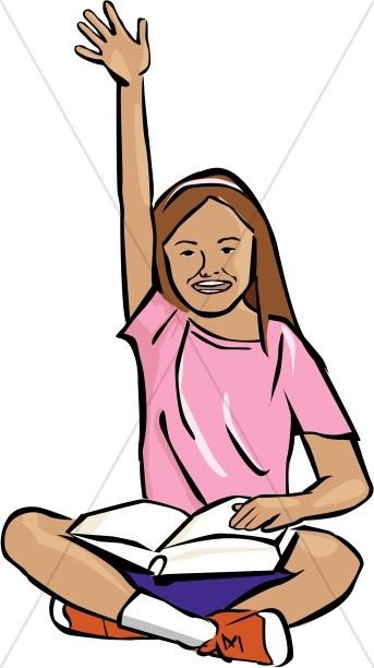 SItting Girl Raising Her Hand