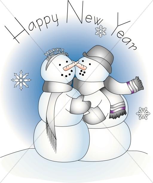 Snowmen Cuddling