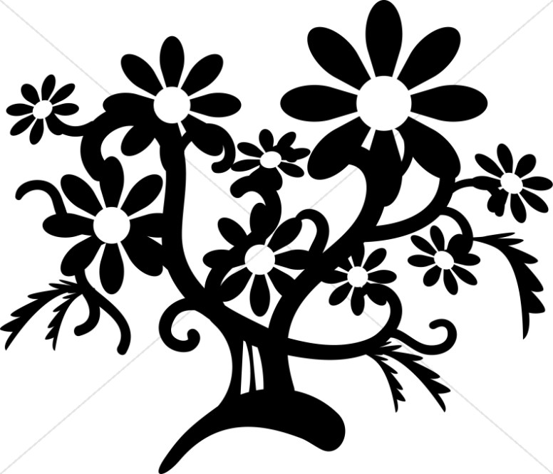 Black And White Flower Tree Church Flower Clipart