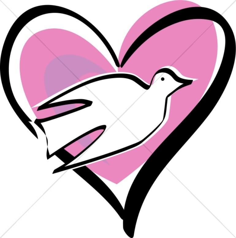 White Dove Pink Heart