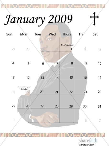January Calendar 2009 : January calendar graphic