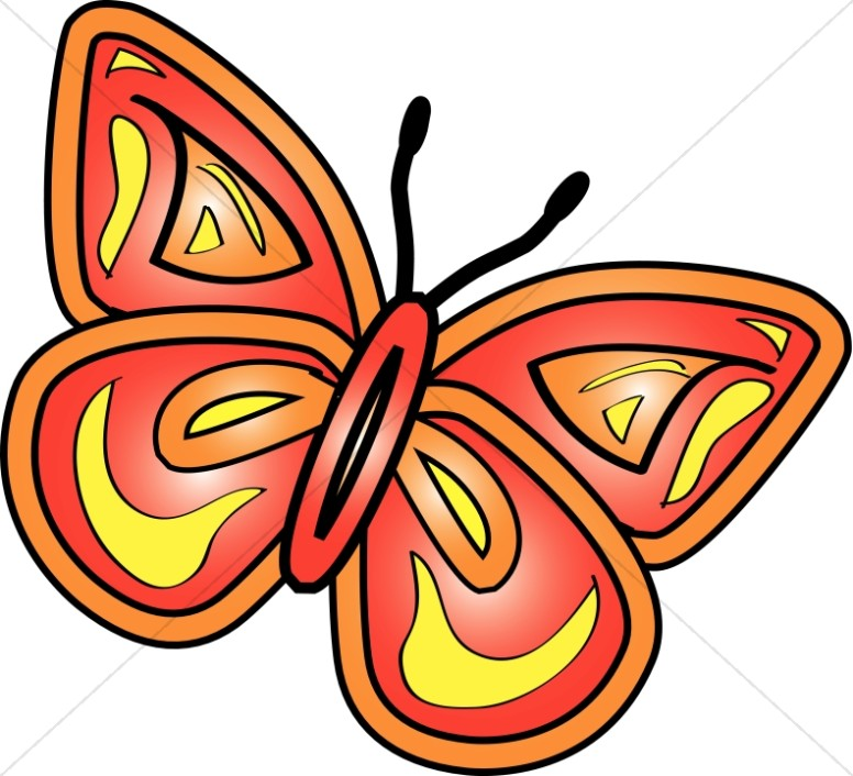 Bright Red Butterly Graphic