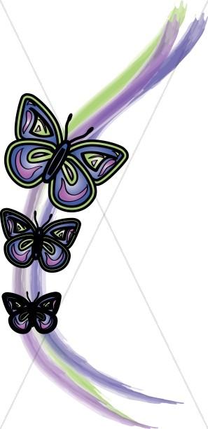 Purple Watercolor Butterflies