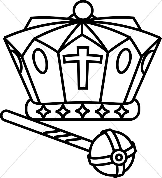 Black and White Crown and Scepter