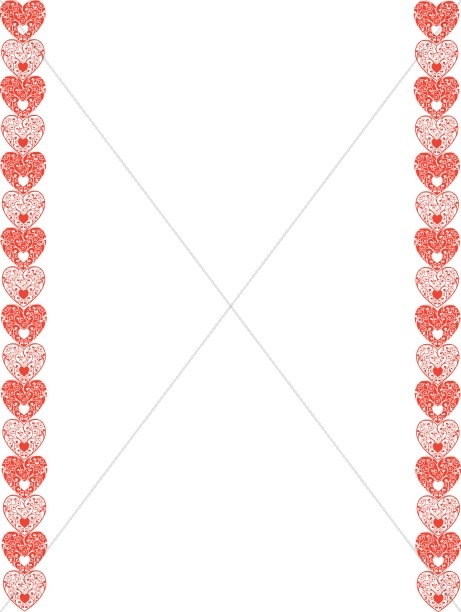 Red And White Hearts Border