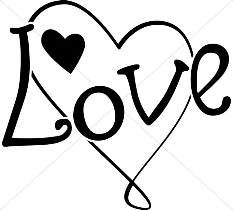 Fun Black And White Love Heart Valentines Day Clipart