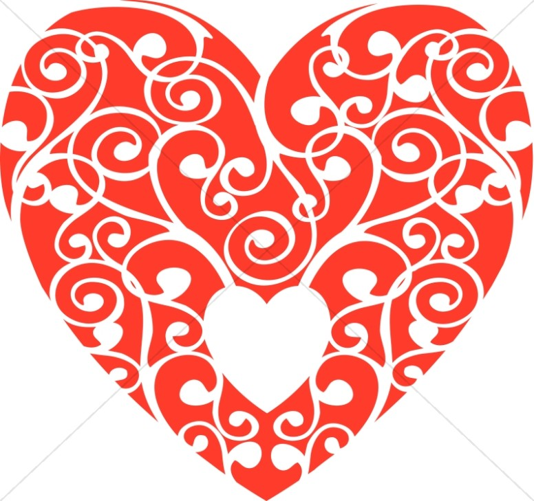 image relating to Printable Red Hearts known as Pink Swirls Centre Valentines Working day Clipart