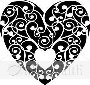 Black And White Swirls Heart Valentines Day Clipart