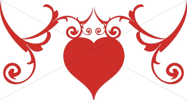 Valentines Day Red Heart Scrollwork