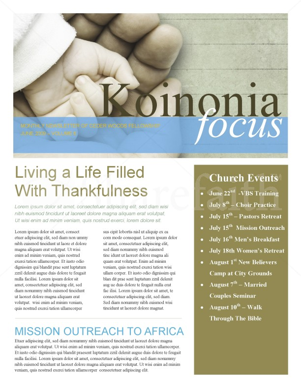Hand In Hand Church Church Newsletter Template | Newsletter Templates