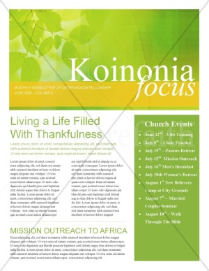 Leaves Of Green Church Newsletter