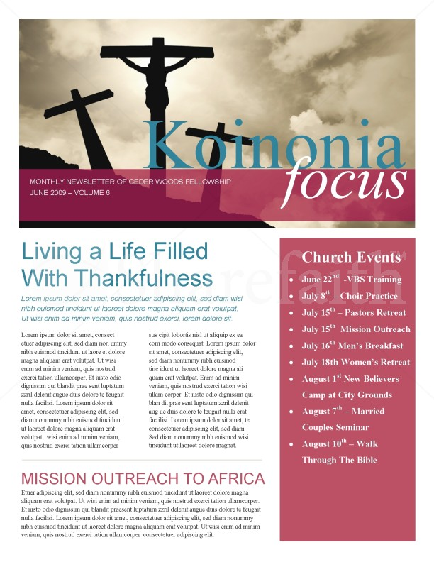 Jesus On The Cross Church Newsletter | page 1
