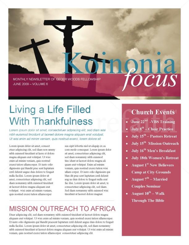 Jesus On The Cross Church Newsletter