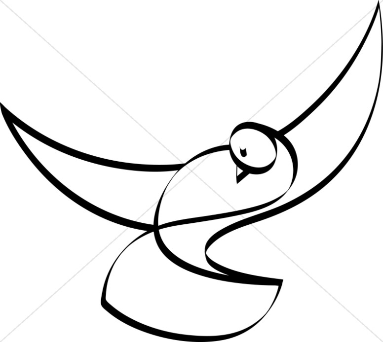 Dove Black and White Christian Clipart