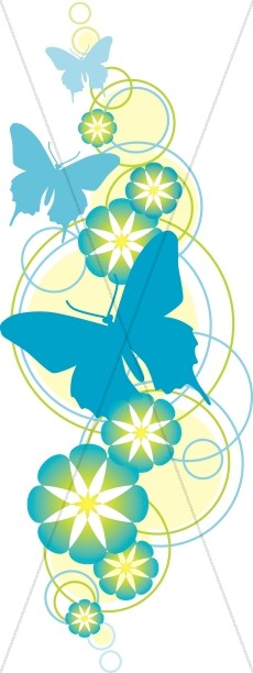 Flower and Butterfly Christian Clipart