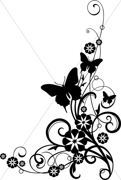 Butterflies With Vine black and White Clipart
