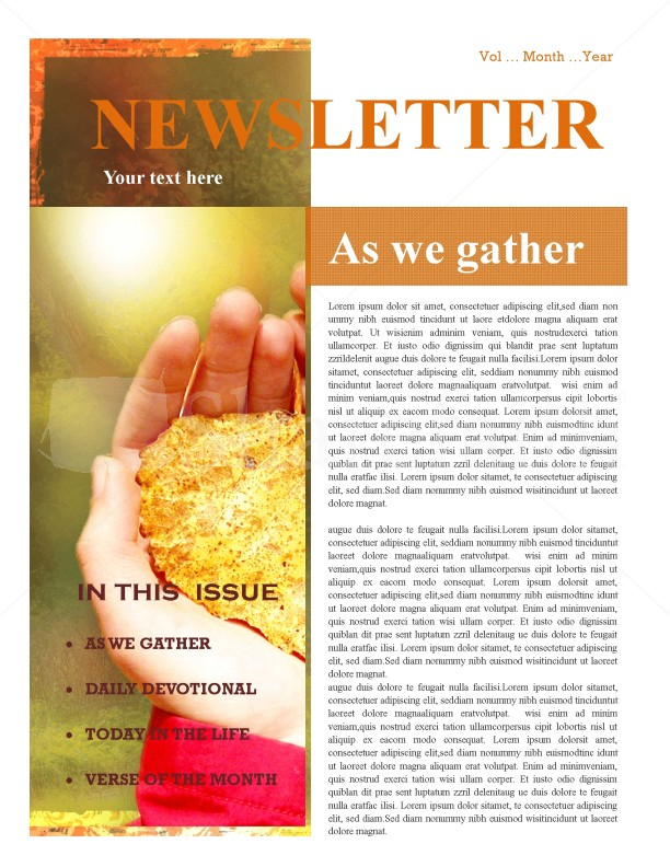 hands and leaf church newsletter design template