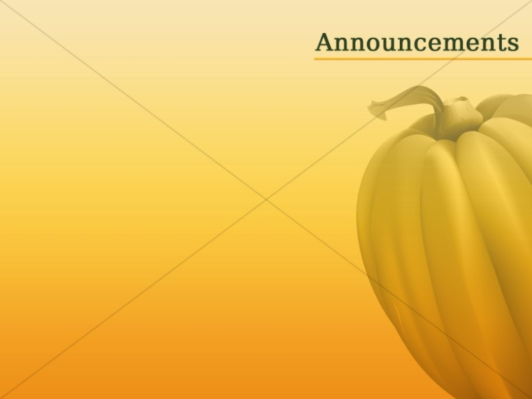 Single Pumpkin Chruch Announcement Slide