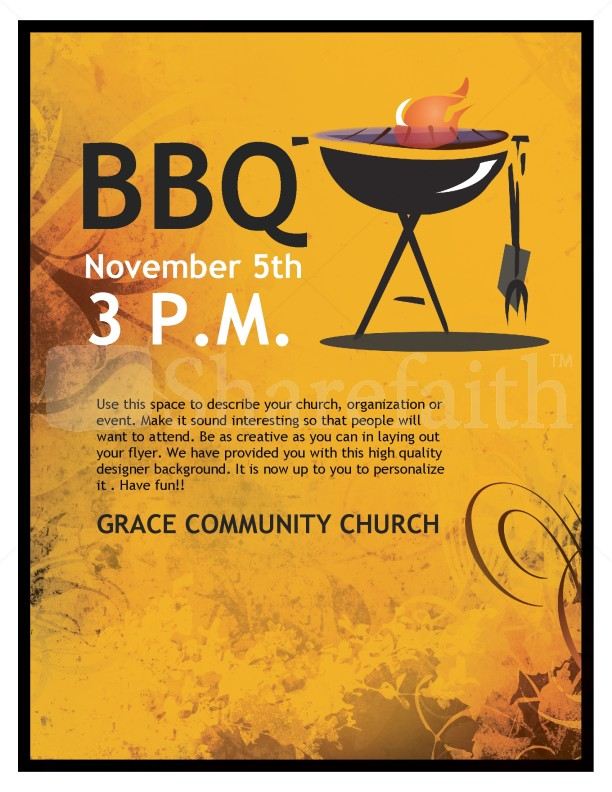 Bbq Church Flyer Template  Flyer Templates