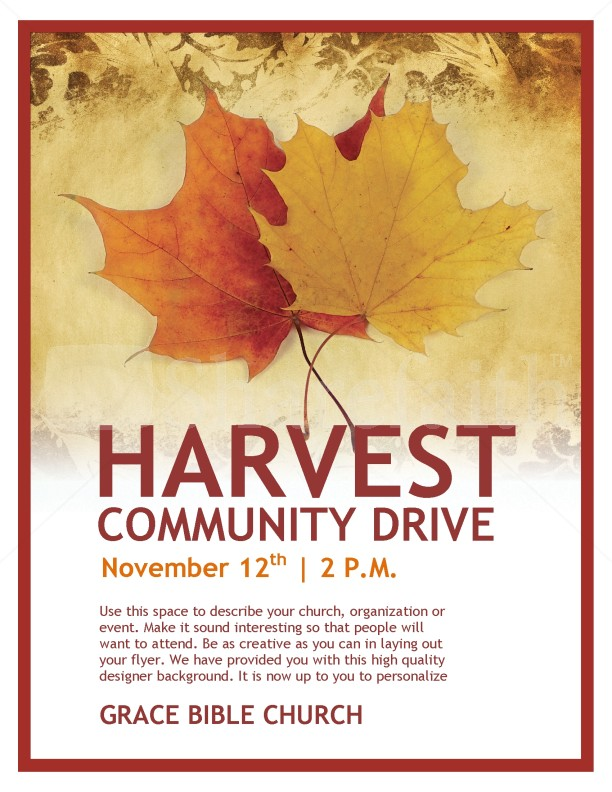 Harvest Community Drive Church Flyer Template  Flyer Templates